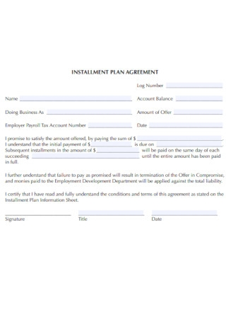 Payment Installment Plan Agreement