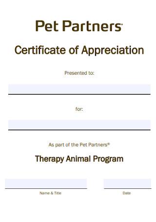 Pet Partner Certificate of Appreciation