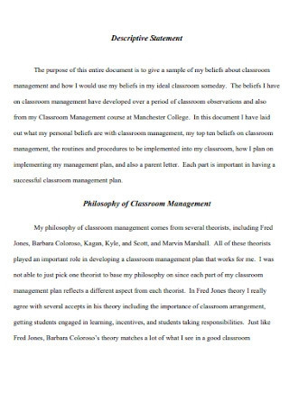 Philosophy Statement of Classroom Management Template