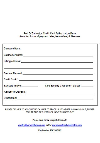 Port Of Company Credit Card Authorization Form