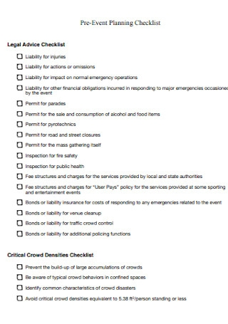 Pre Event Legal Advice Planning Checklist