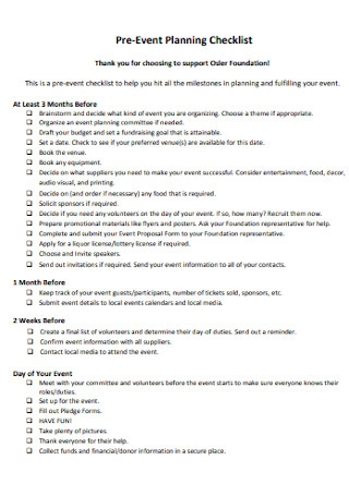 Pre Event Planning Checklist