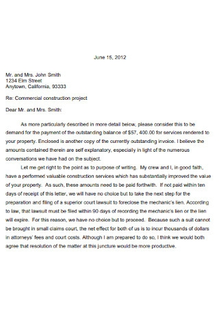 Project Contract Demand Letter