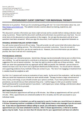 Psychologist Client Contrat for Individual Therapy