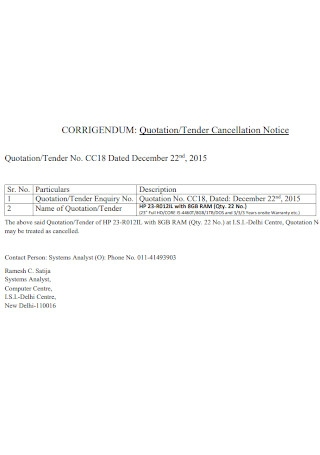 Quotation and Tender Cancellation Notice