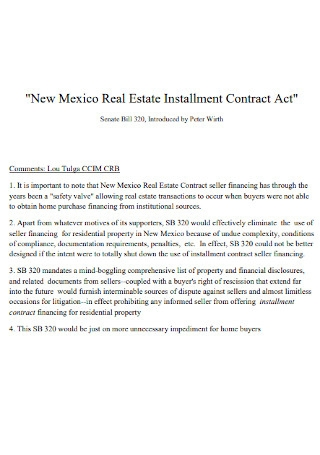 Real Estate Installment Contract