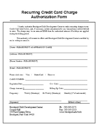 Recurring Credit Card Charge Authorization Form