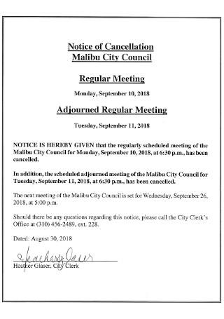 Regular Meeting Notice of Cancellation Template