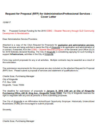 Request for Proposal for Administration Cover Letter