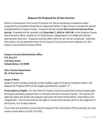 Request for Proposal for LP Gas Services Letter