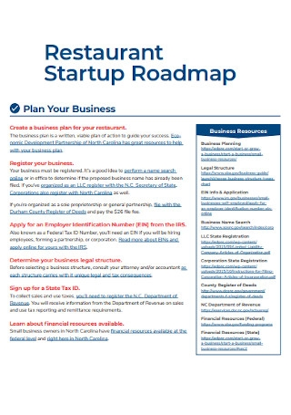 Restaurant Startup Business Roadmap