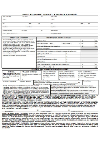Retail Installment Contract and Security Agreement