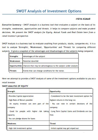 SWOT Analysis of Investment Options Template