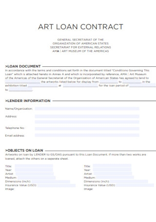 Sample Art Loan Contract Template