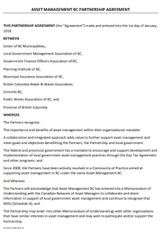 Sample Asset Management Partnership Agreement