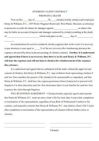 Sample Attorney Client Contract Template