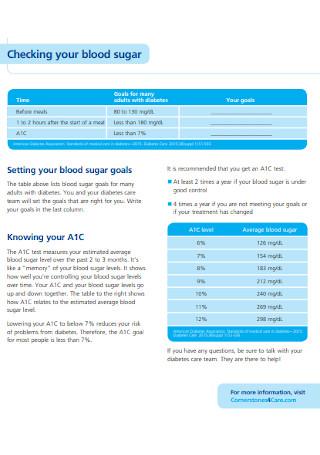 Sample Blood Sugar Chart