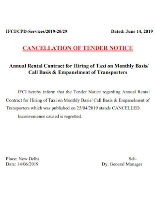 Sample Cancellation Tender of Notice