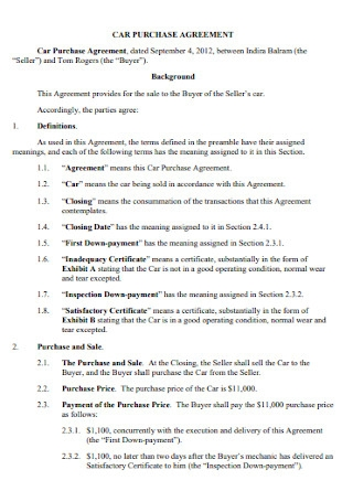 Sample Car Purchase Agreement Template