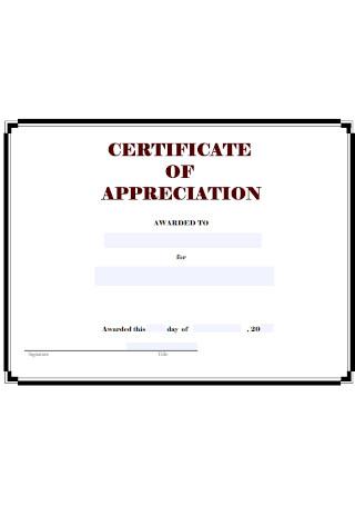 Sample Certificate of Appreciation Example