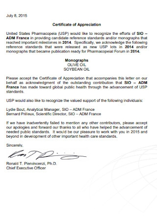 Sample Certificate of Appreciation Letter