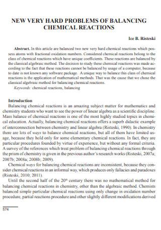 Sample Chemical Reaction Equations to Balance