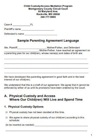 Sample Co Parenting Agreement Language