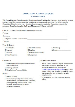 Sample College Event Planning Checklist