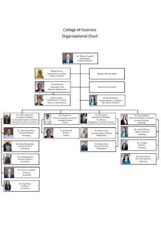 Sample College of Business Organizational Chart