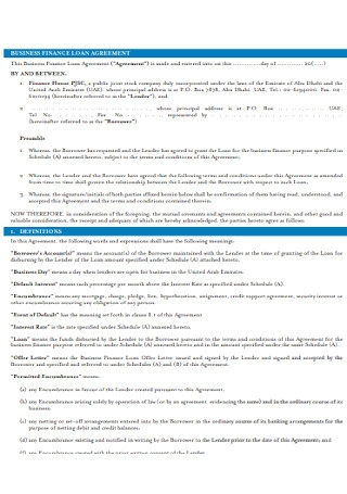 Sample Commercial Business Financial Loan Agreement