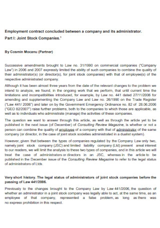 Sample Company Employment Contract Template