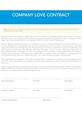 Sample Company Love Contract Template