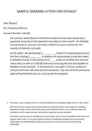 Sample Contract Demand Letter for Default Template