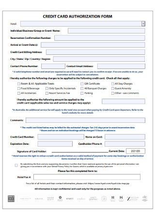 Sample Credit Card Authorization Form Template