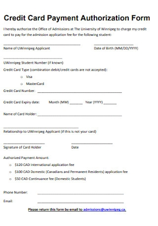Sample Credit Card Payment Authorization Form