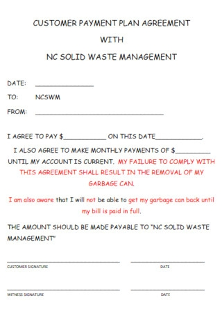 Sample Customer Payment Plan Agreement