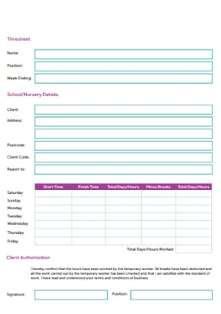 Sample Education Timesheet Template