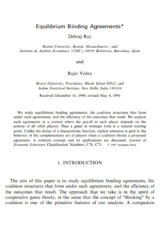 Sample Equilibrium Binding Agreements
