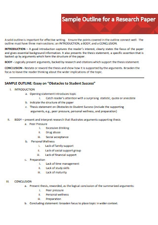 Sample Essay Outline for a Research Paper