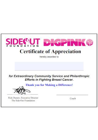 Sample Foundation Certificate of Appreciation