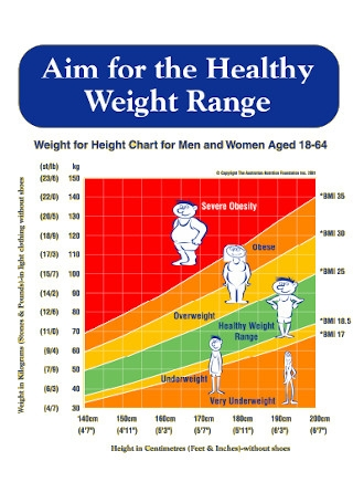 Sample Healthy Weight Range Chart Template