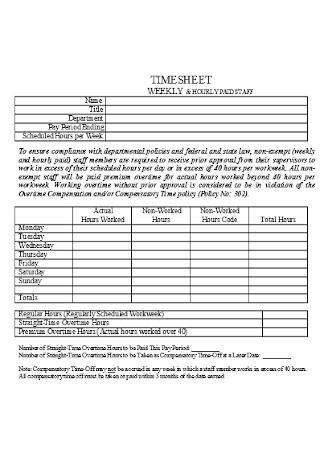 Sample Hourly Paid Staff Timesheet
