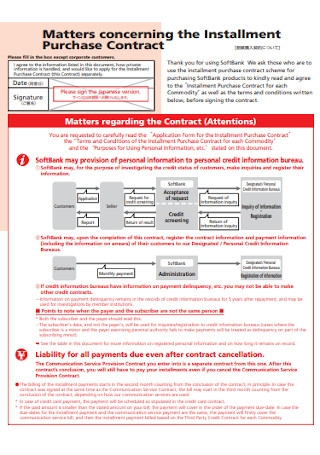 Sample Installment Purchase Contract Template