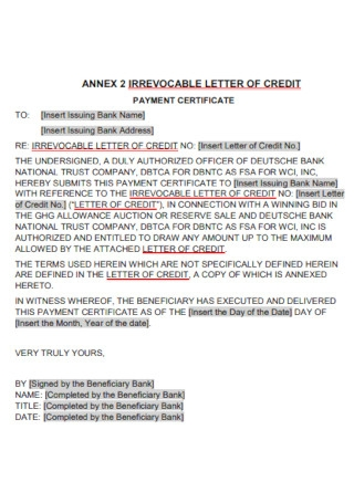 Sample Irrevocable Demand Letter of Credit