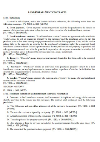 Sample Land Installment Contract Template