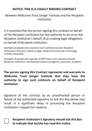 Sample Legaly Binding Contract