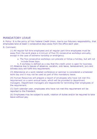 Sample Mandatory Leave Template