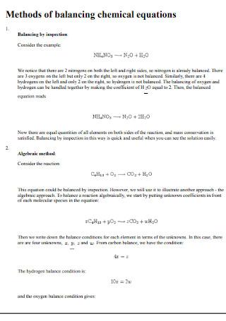 Sample Methods of Balancing Chemical Equations
