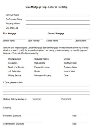 Sample Mortgage Help –Letter of Hardship