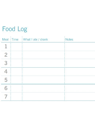 Sample Nutrition Food Log Template